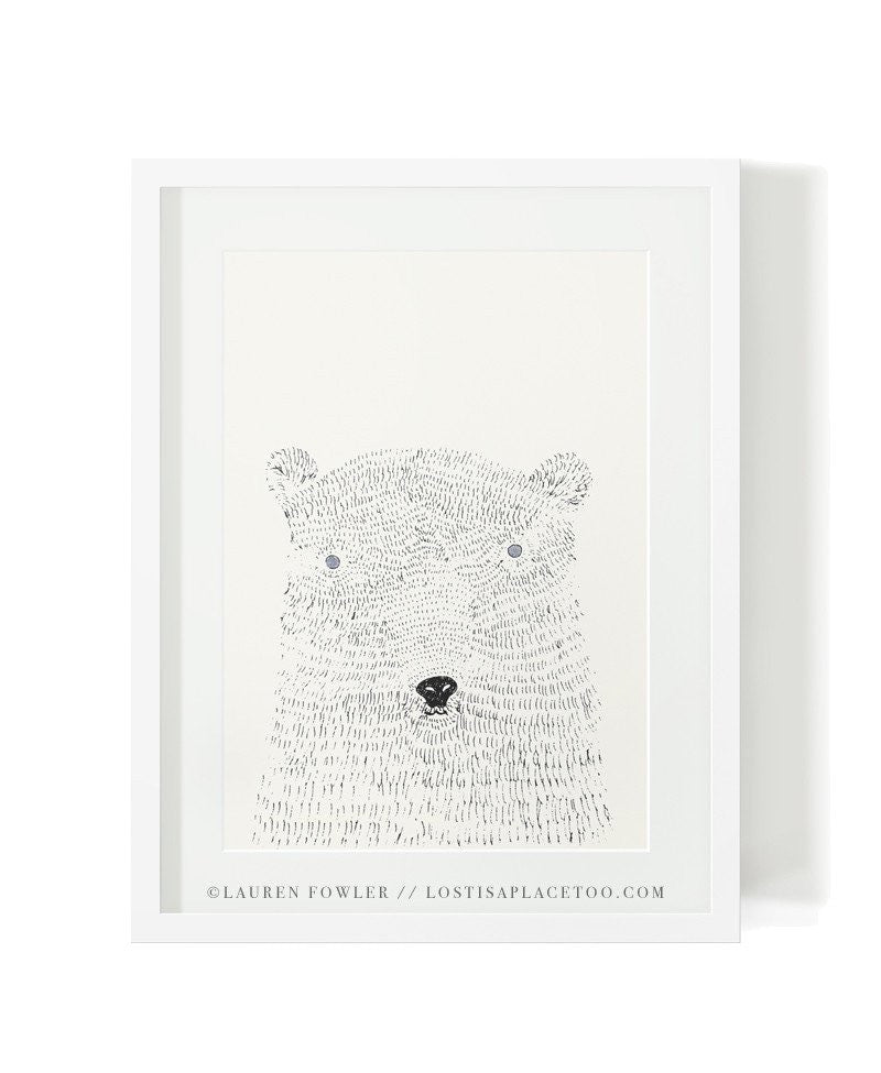 Fluffy Polar Bear Art Print