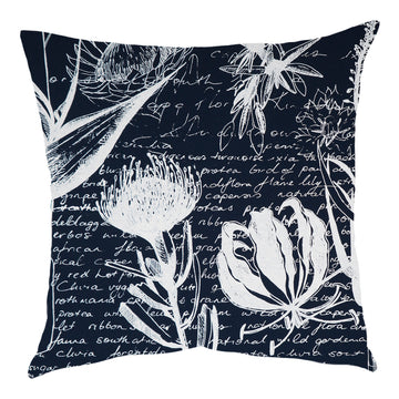 Flame Lily Forest White on Navy Scatter Cushion - KNUS