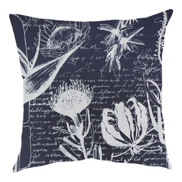 Flame Lily Forest White on Airforce Blue Scatter Cushion - KNUS