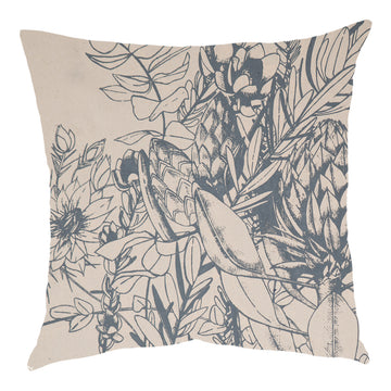 JanFlora Blue Grey on Cream Scatter Cushion - KNUS