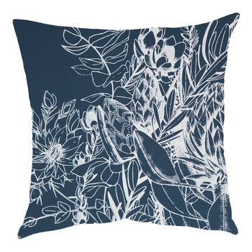 JanFlora White on Airforce Blue Scatter Cushion - KNUS