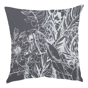 JanFlora White on Grey Scatter Cushion - KNUS