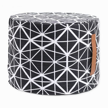 Black Facet Floor Ottoman