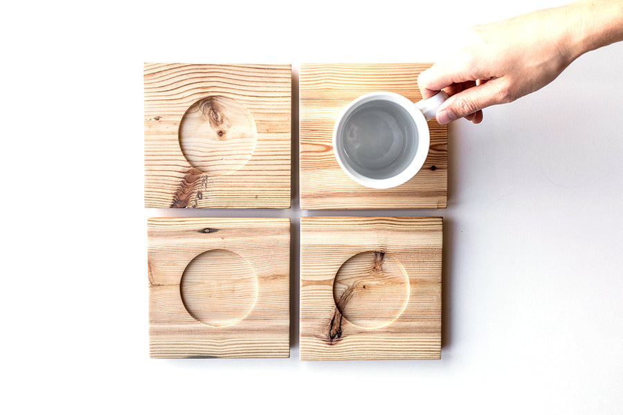 Square Wooden Saucer Set