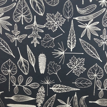 Leaves Navy Fabric (Per Meter) - KNUS