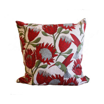 Protea On White Scatter Cushion - KNUS