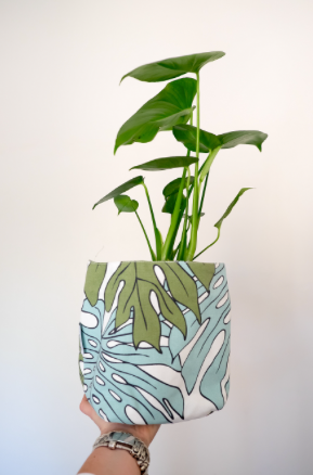 Protea Blue / Delicious Monster Reversible Fabric Pot