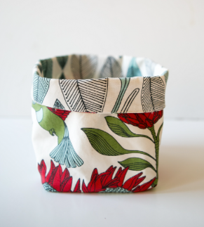 Protea Cream / Blue Leaves Reversible Fabric Pot