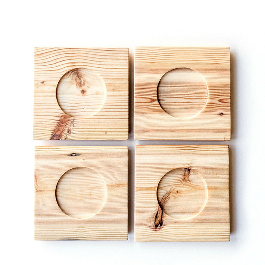 Square Wooden Saucer Set - KNUS