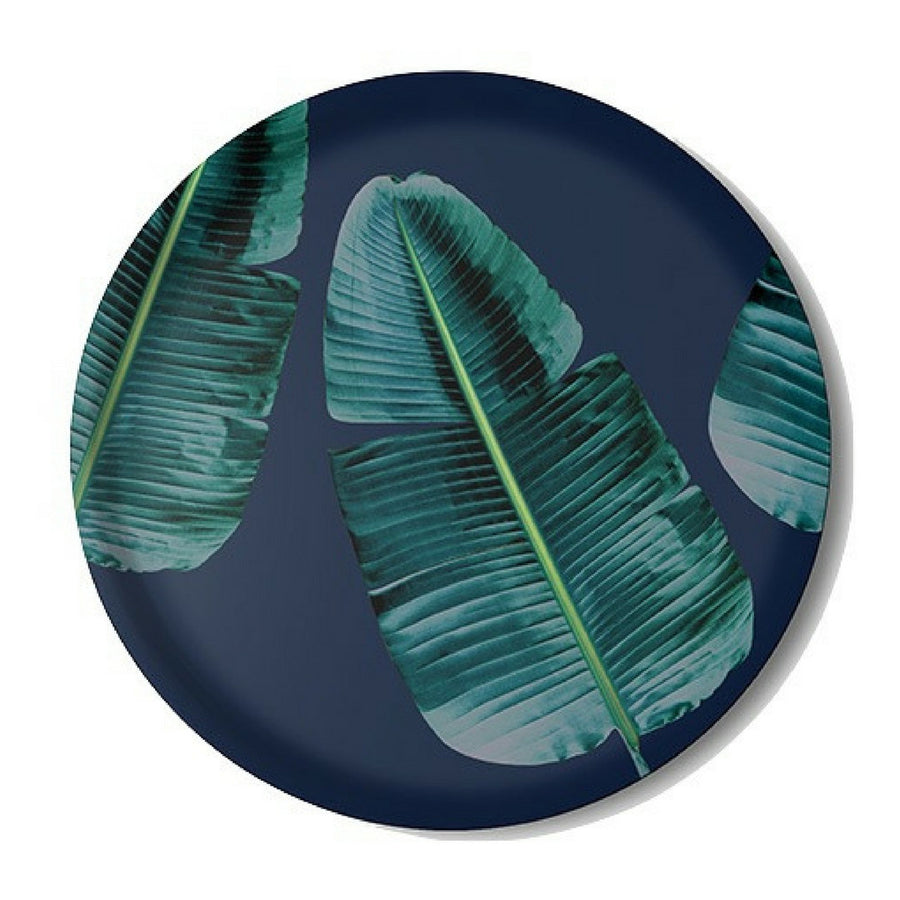 Strelitzia nicolai (leaf on blue) Serving Tray - KNUS
