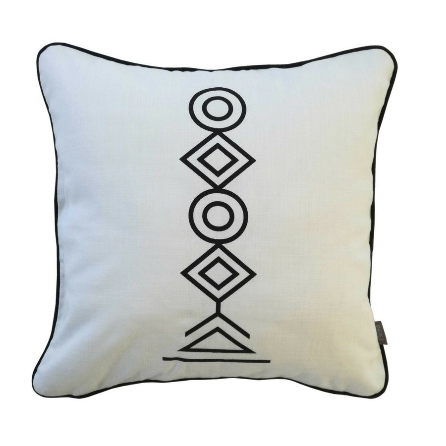 Black Totem on White Cushion - KNUS