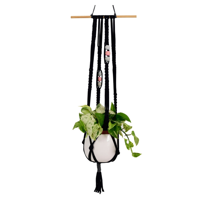 Macrame Plant Hanger Square Space on dowel T-shirt Yarn