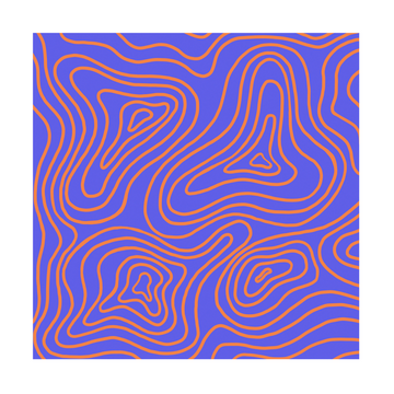Orange Contour Lines Art Print - KNUS