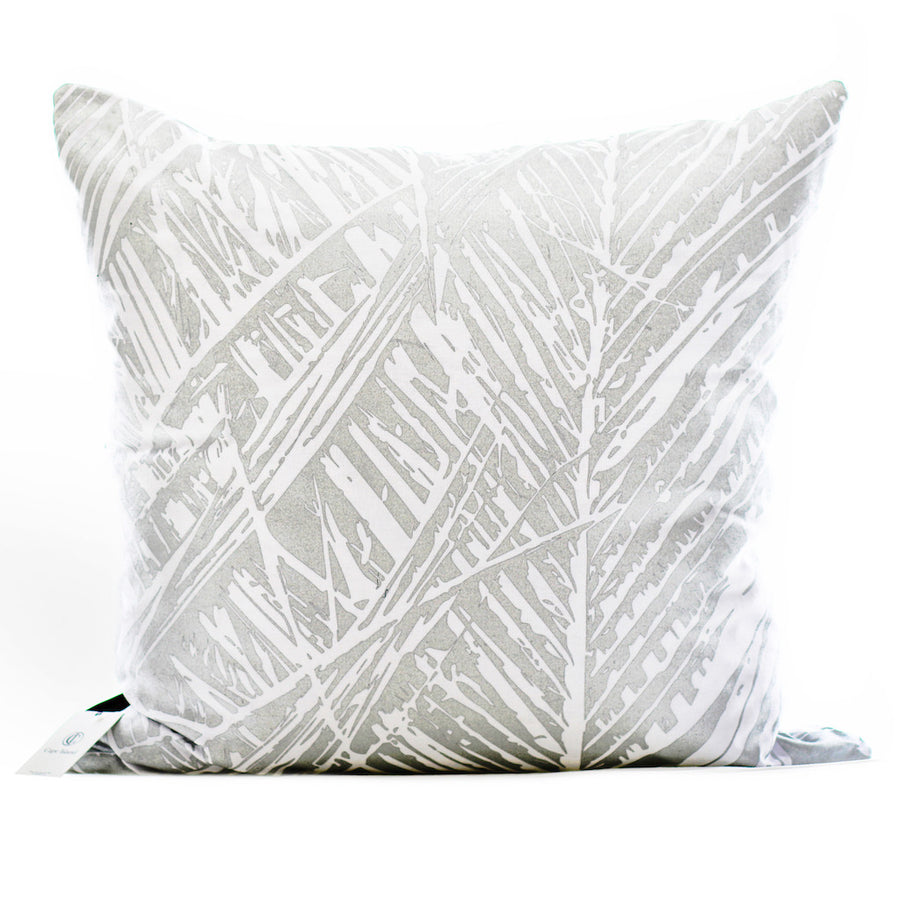 Silver Leaf on White Scatter Cushion - KNUS