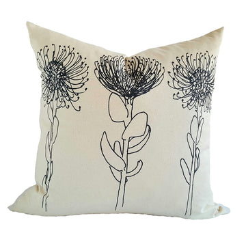 Grey Pincushion Print on Cream Scatter Cushion - KNUS