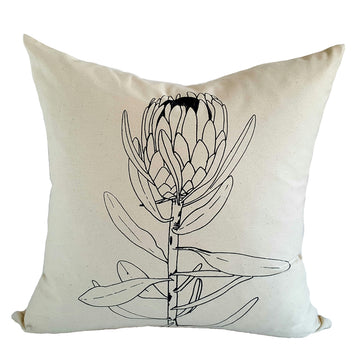 Grey Single Protea Print on Cream Scatter Cushion - KNUS