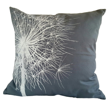 Dandelion Print on Grey Scatter Cushion - KNUS