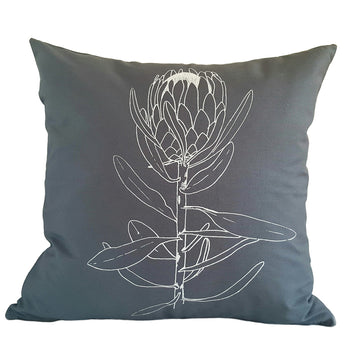 Single Protea Print on Grey Scatter Cushion - KNUS