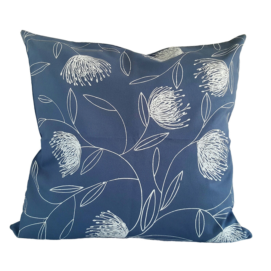 Pincushion Whirl Print on Airforce Blue Scatter Cushion - KNUS