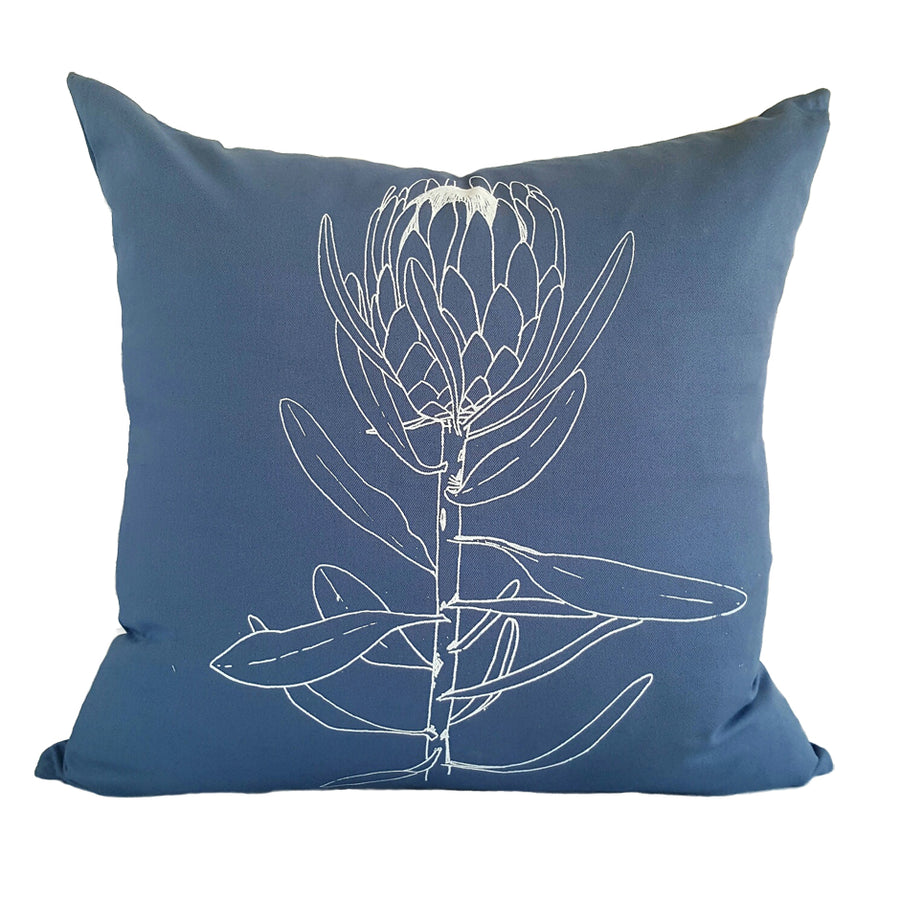 Single Protea Print on Airforce Blue Scatter Cushion - KNUS