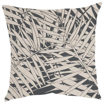Grey Fern Forest Print on Cream Scatter Cushion - KNUS