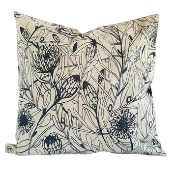 Grey Protea Forest Print on Cream Scatter Cushion - KNUS