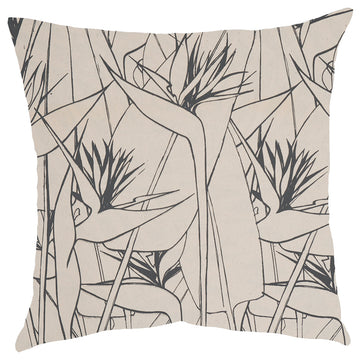 Grey Strelitzia Print on Cream Scatter Cushion - KNUS