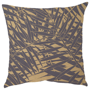 Gold Fern Forest Print on Grey Scatter Cushion - KNUS