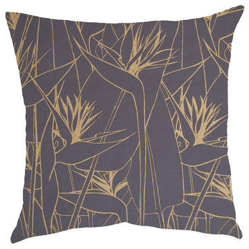 Gold Strelitzia Print on Grey Scatter Cushion - KNUS