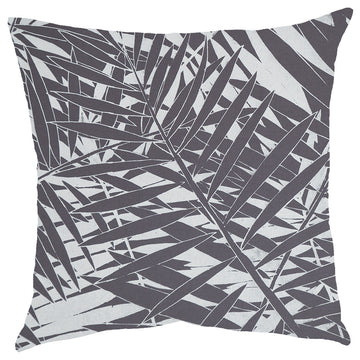White Fern Forest Print on Grey Scatter Cushion - KNUS