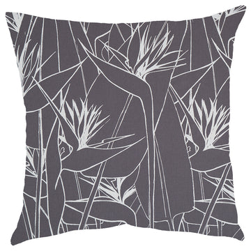 White Strelitzia Print on Grey Scatter Cushion - KNUS