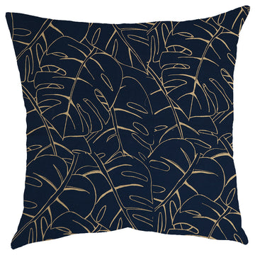 Gold Delicious Monster Print on Navy Scatter Cushion