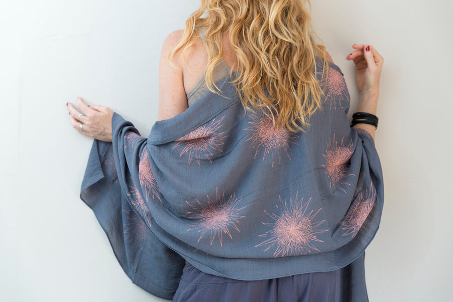 Coral Star Print on Dark Grey Sheer Voile Scarf