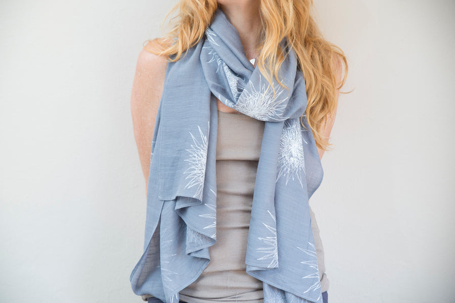 White Safari Sunset Print on White Sheer Voile Scarf