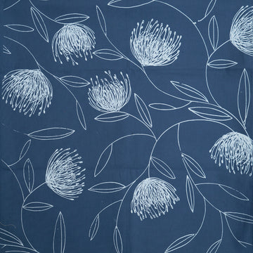 Pincushion Whirl Print on Airforce Blue Table Runner - KNUS