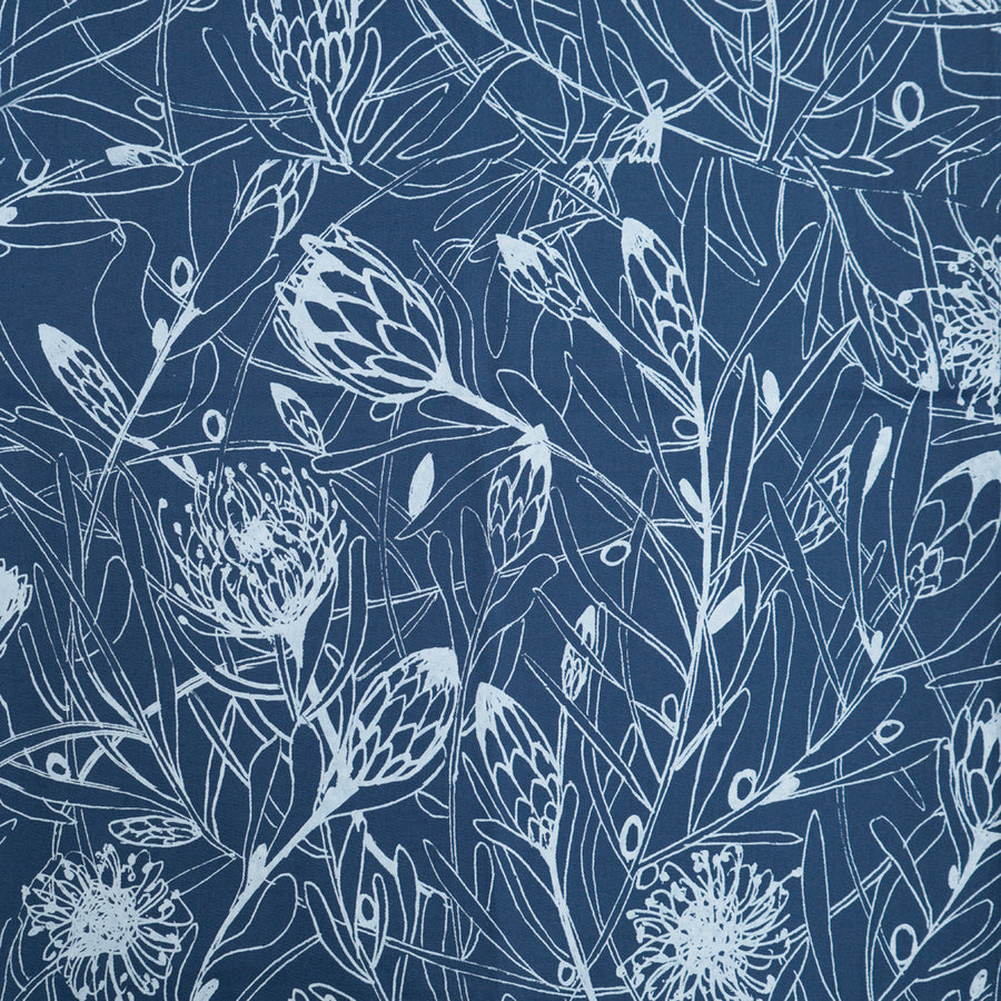 Protea Forest Print on Airforce Blue Table Runner - KNUS