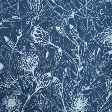 Protea Forest Print on Airforce Blue Fabric Per Meter - KNUS