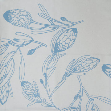 Grey Blue Protea Flora on Cream Table Runner - KNUS