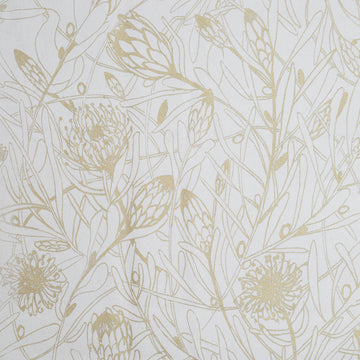 Gold Protea Forest on Cream Fabric per meter - KNUS