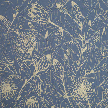Gold Protea Forest Print on Grey Fabric per meter - KNUS