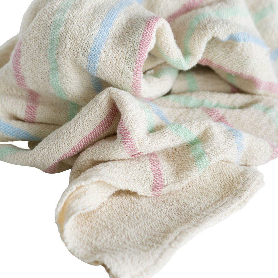 French Country Baby Blanket Pink, Blue & Green Stripes - KNUS