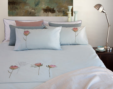 Protea Duck Egg Duvet Cover Set - KNUS