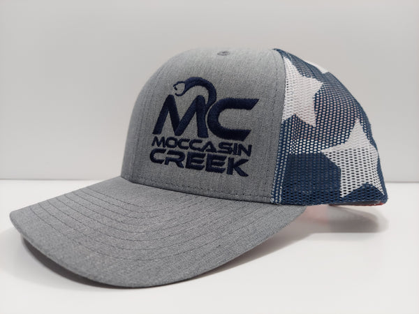 *NEW* Gray, Red, White and Blue Hat - Blue Logo