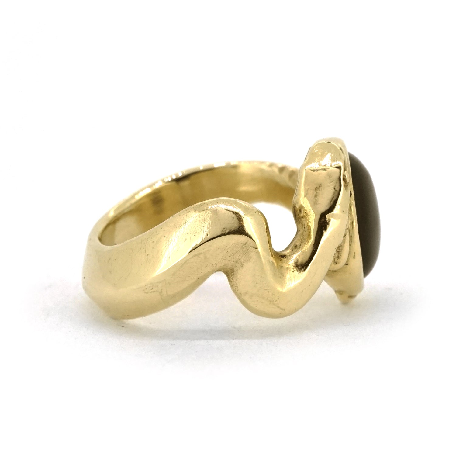 Gold Python ring with Onyx