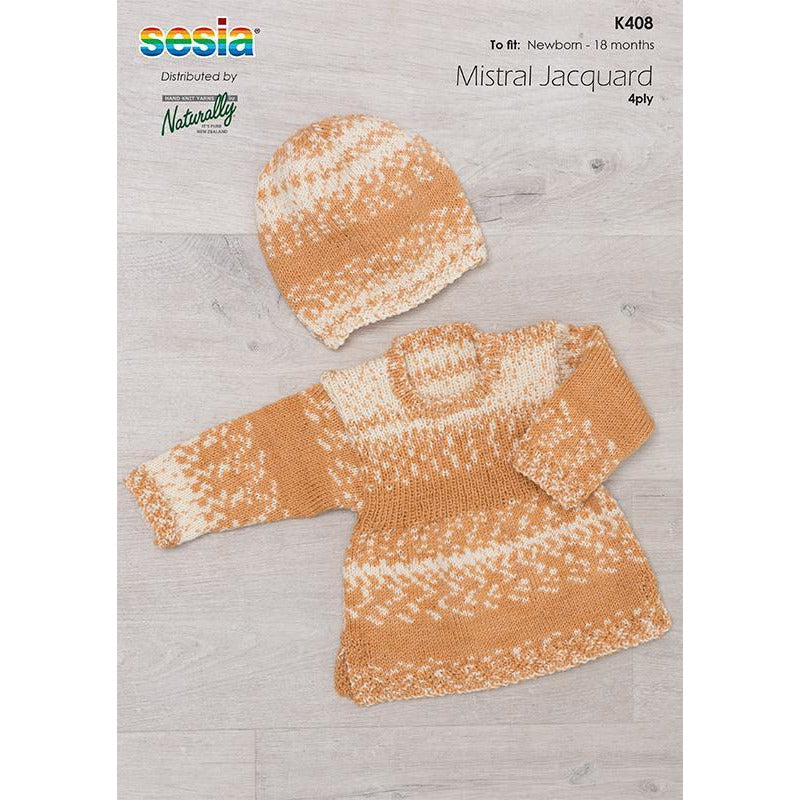 K408 Babies and Toddler Sweater & Hat Set Pattern in 4Ply