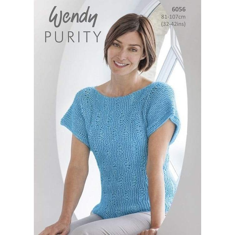 Short Sleeve Drop Stitch & Garter Sweater in Wendy Purity 10ply