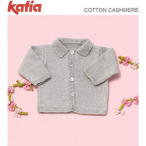 TX571 Baby's Cardigan with Collar in Katia Cotton Cashmere