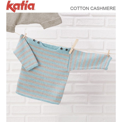TX589 Babies Striped Jumper in Katia Cotton Cashmere