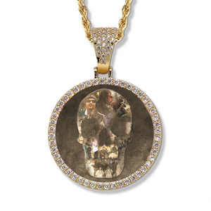 Bizzy Bone - Skull Collage - Round Photo Pendant