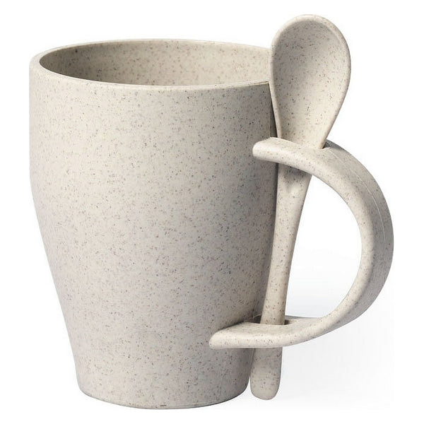 Mug with Small Spoon 146549 400 ml Bamboo fibre Pp